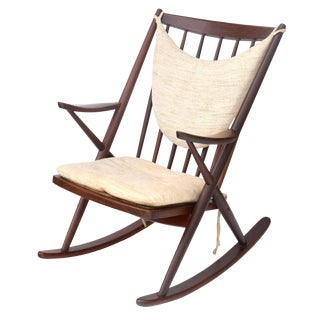 Walnut Rocking Chair by Frank Reenskaug for Bramin Mobler, 1960s Denmark For Sale