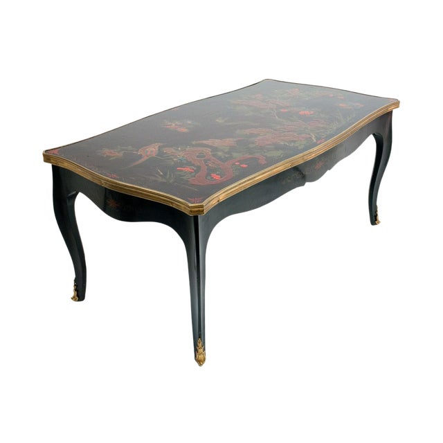 Louis XV Style Black Japanned Coffee Table by Maison Jansen C. 1940's For Sale