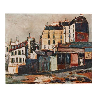 "1950s Maurice Utrillo, ""Rue Ravignan"" of Paris First Edition Period Lithograph For Sale"