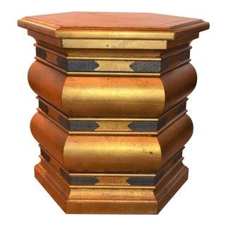 Hollywood Regency Lane Furniture Gold Wood End Table For Sale