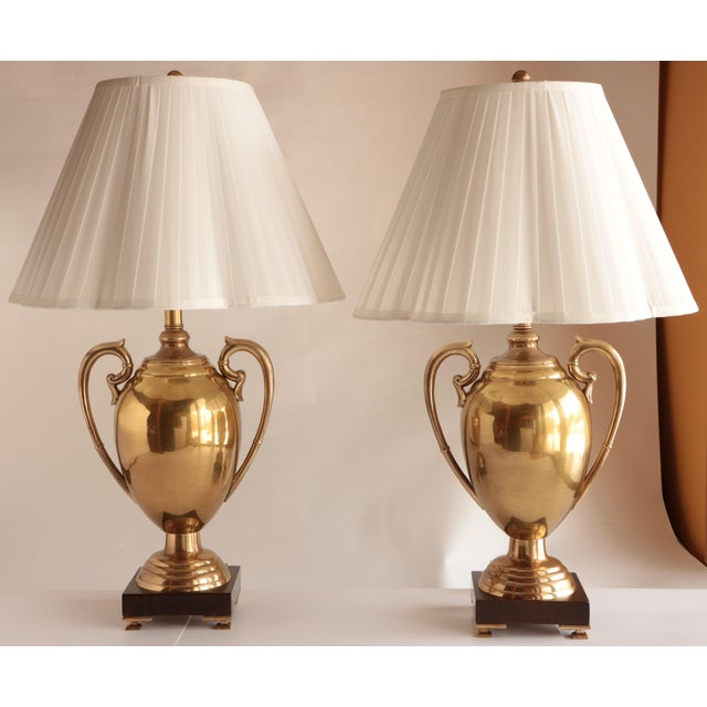 Gold Frederick Cooper Brass Trophy Lamps, a Pair For Sale - Image 8 of 8