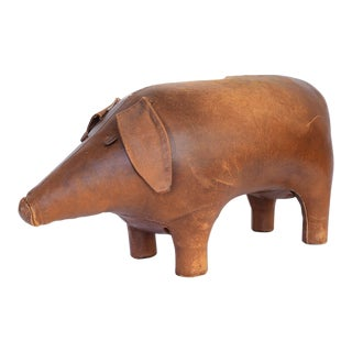 VIntage Dimitri Omersa for Abercrombie & Fitch Leather Pig Footstool For Sale
