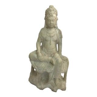 Guanyin / Guan Yin Bodhisattva Marble Goddess of Mercy Seated Buddha Statue For Sale