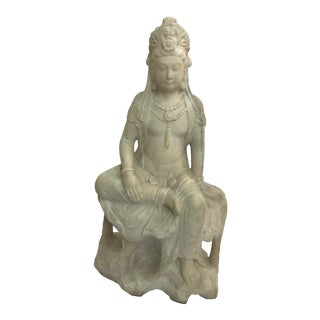 Guanyin / Guan Yin Bodhisattva Marble Goddess of Mercy Seated Statue For Sale