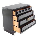 Image of Vintage Mid-Century Black Lacquered 4-Drawer Bachelor Chest For Sale