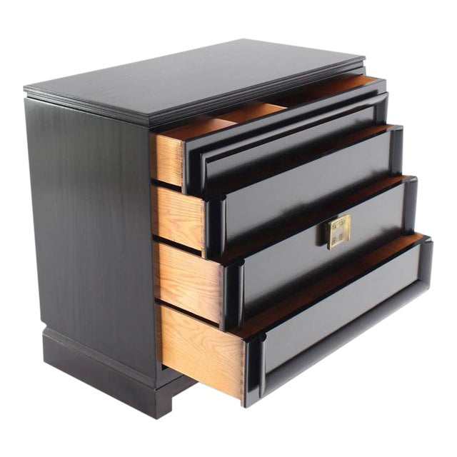 Vintage Mid-Century Black Lacquered 4-Drawer Bachelor Chest For Sale