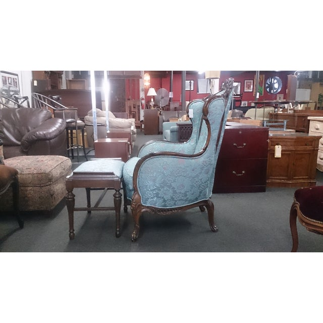 Wingback Victorian Chair and Ottoman - Image 4 of 5