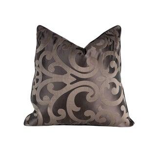 Chocolate Brown Geometric Satin Pillow - 22 X 22 For Sale