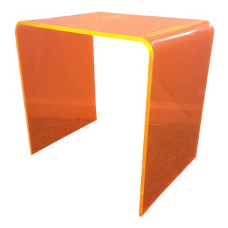 1990s Modern Neon Orange Acrylic Waterfall Side Table For Sale