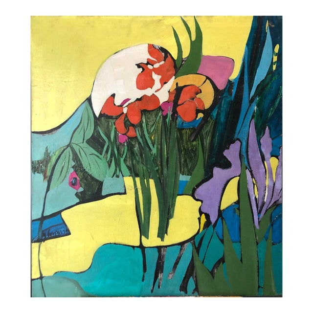 "1974 Floral Abstract Painting Ny Artist ""Iris in Front"" For Sale"