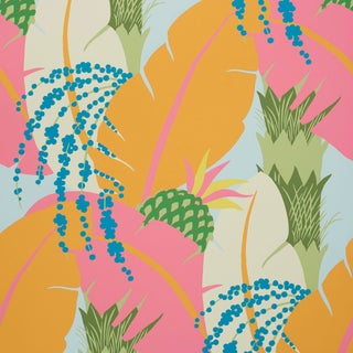 Schumacher X Paul Poiret Ananas Wallpaper in Tropical For Sale