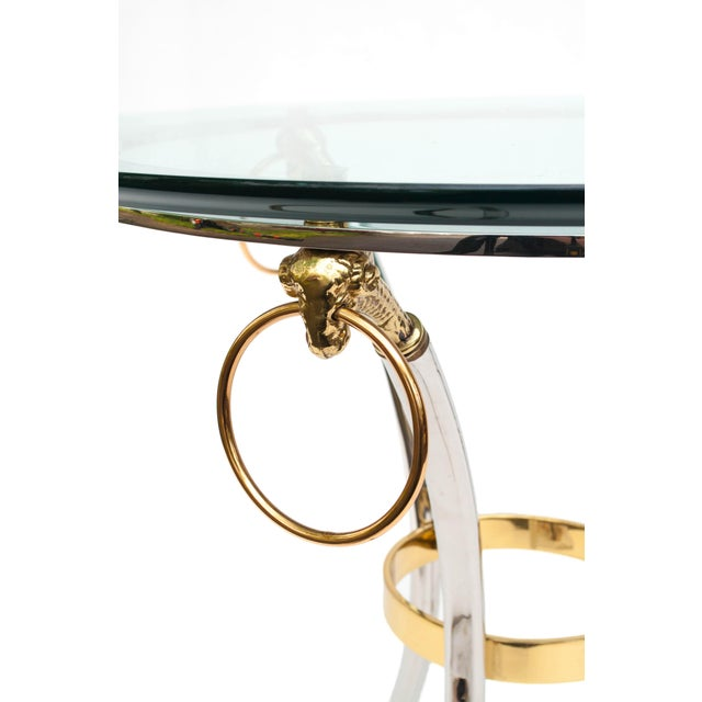 Brass, Chrome and Glass Rams Head Hoof Round Side Table For Sale - Image 9 of 12
