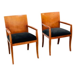 Vintage Bernhardt Arm Chairs in Midnight Mohair - a Pair For Sale