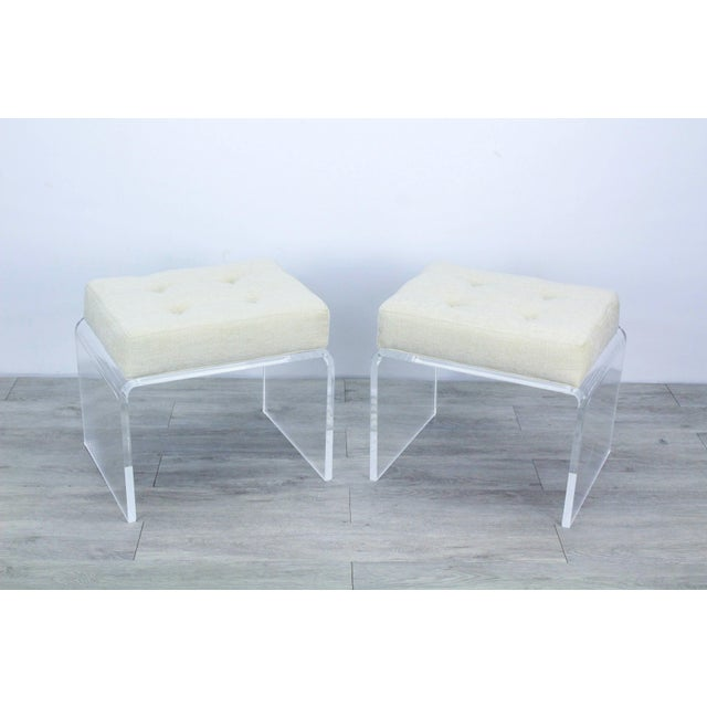 Textile Pair of Cream Waterfall Lucite & Chenille Benches For Sale - Image 7 of 8