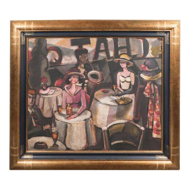 """Art Deco Oil on Canvas Painting, Entitled """"Aux Chat Qui Peche"""" For Sale"""