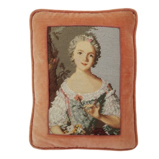 Vintage Needlepoint Pillow With French Lady Motif For Sale