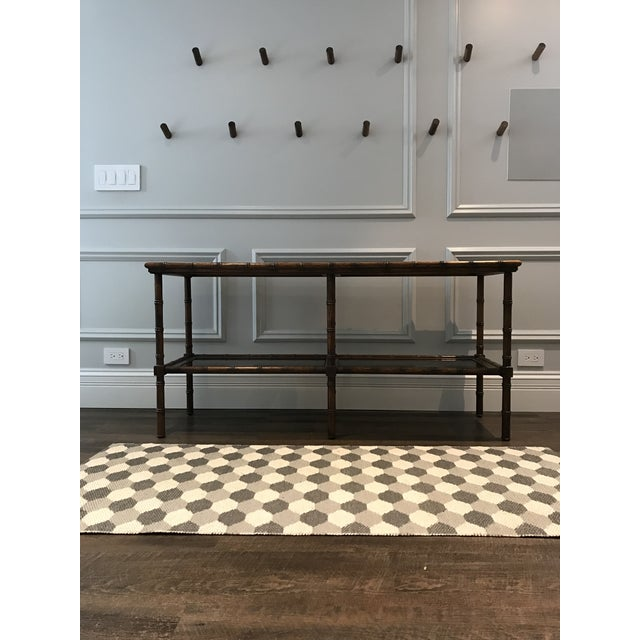 20th Century Boho Chic Solid Oak And Smoked Glass Console