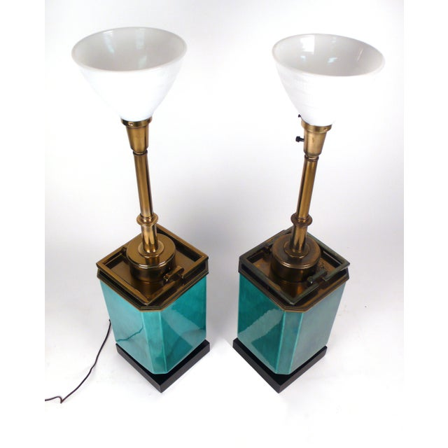 Modern Jade Blue Ceramic Stiffel Lamps For Sale - Image 3 of 7