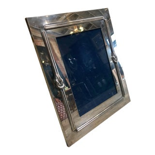 1970s Vintage Gucci Style Italian Mid Century Chrome Photo Frame For Sale