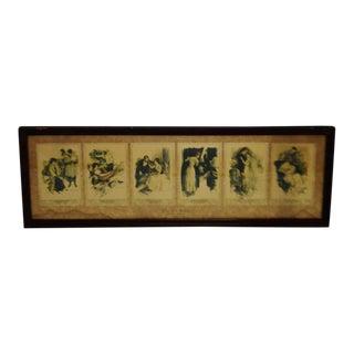 Antique Framed Reinthal & Newman the Six Senses Prints For Sale