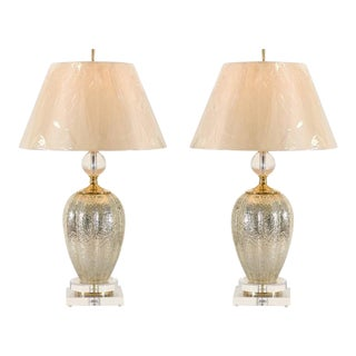 Sophisticated Pair of Blown Mercury Glass Vessels as Custom Lamps