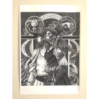 """Original Signed Black & White Etching """" Black Crow """" Print by D. Bell Preview"""