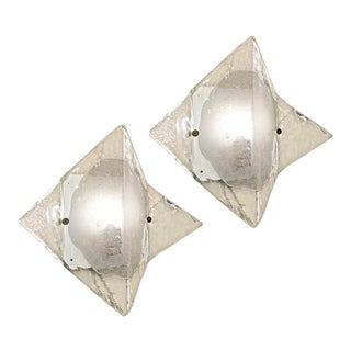 Murano Glass Sconces or Flush Mounts by Mazzega - a Pair For Sale
