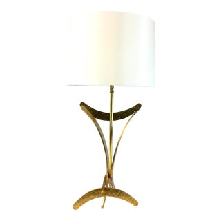 Worlds Away Modern Sculptural Gold Finished Marisol Table Lamp For Sale