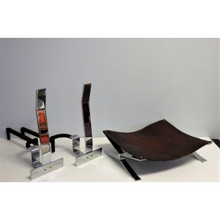 Alessandro Albrizzi Fireplace Set, Tools, Andirons and Log Holder, 1970s Preview