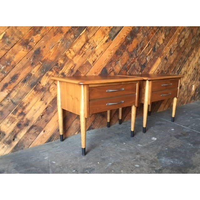 Lane Acclaim Mid-Century Walnut Nightstands - A Pair - Image 6 of 8