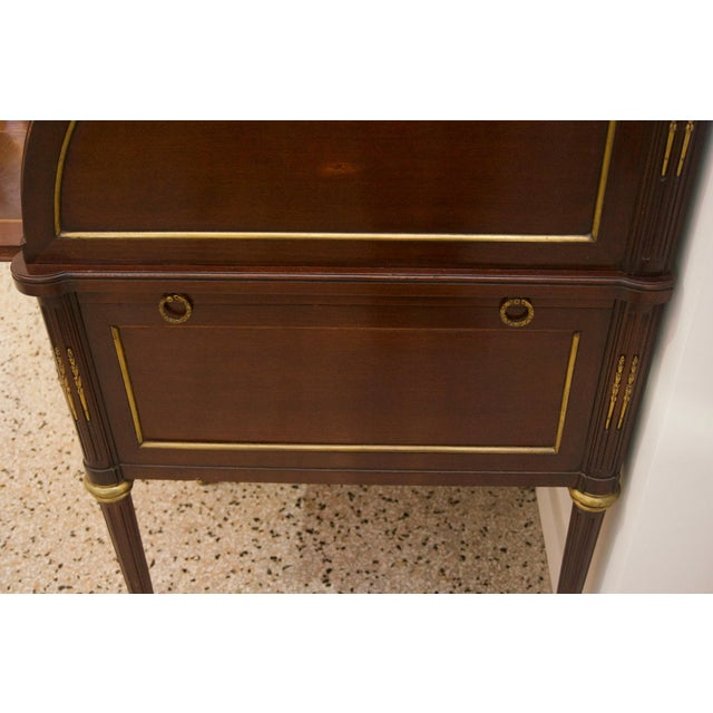 French Directiore Style Mahogany Roll Top Desk For Sale - Image 4 of 13