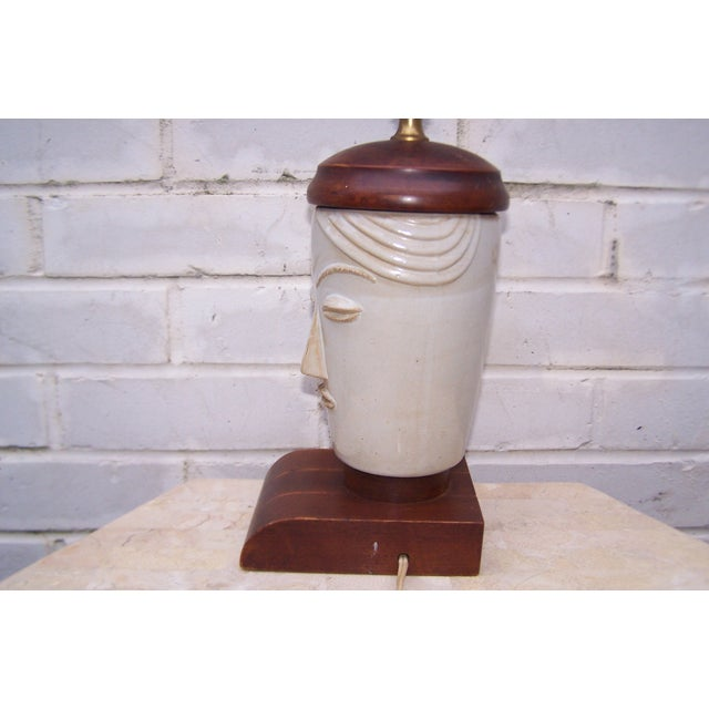 Vintage Art Deco Small Cubist Ceramic & Wood Lamp - Image 7 of 7