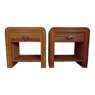 Vintage Mid Century Pencil Reed Rattan Nightstands End Tables- A Pair For Sale