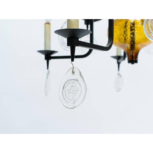 Erik Hoglund Art Glass Chandelier For Sale In New York - Image 6 of 11