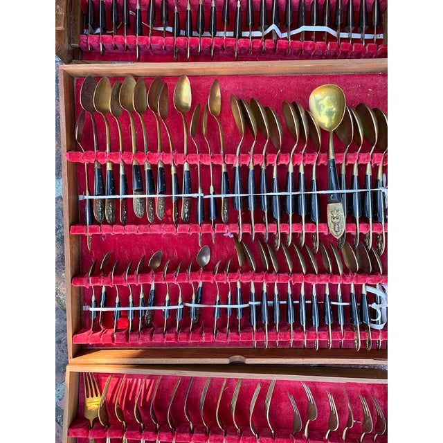Mid 20th Century Vintage Bronze Flatware From Bangkok Thailand - 144 Pc. Set For Sale - Image 4 of 8