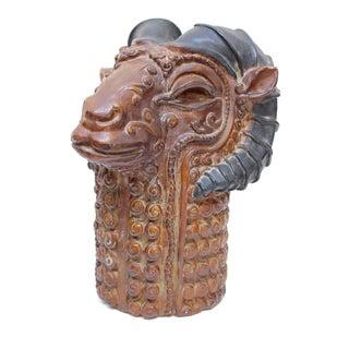 1970's Plaster Ram's Head Sculpture