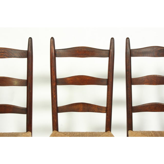 Six French Farmhouse-Style Oak Ladder Back Dining Chairs With Rush Seats For Sale - Image 4 of 12