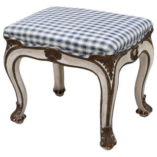 Late 19th Century Louis XV Style Parcel Gilt Painted Bench or Footstool For Sale