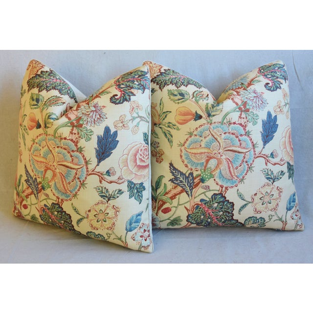 """Travers Tree-Of-Life Linen Feather/Down Pillows 22"""" Square - Pair For Sale - Image 9 of 13"""
