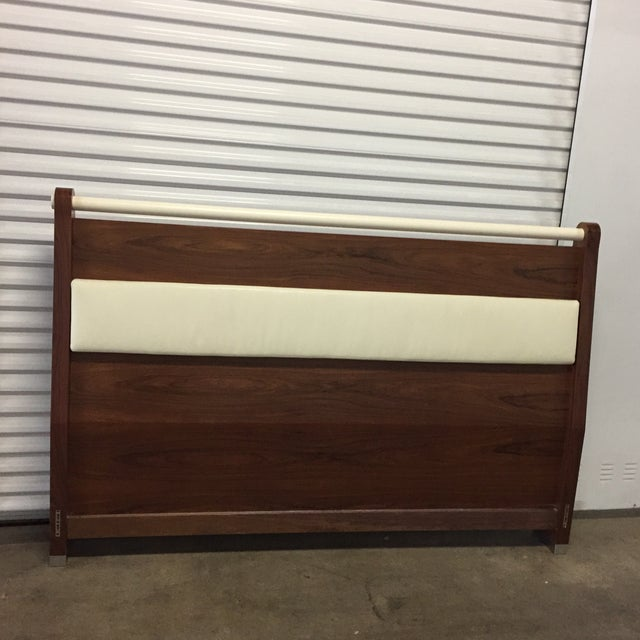 King Solid Mahogany and Leather Bed Headboard by Morlen Sinoway For Sale - Image 13 of 13
