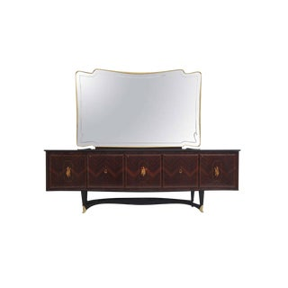 1950s Vintage Rosewood Sideboard With Mirror by Dassi For Sale