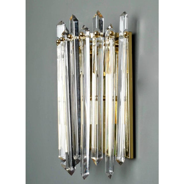 1970s Pair Mid Century Sconces with Brass and Crystal Spears For Sale - Image 5 of 7