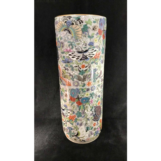 Vintage Chinese Porcelain Famille Verte Hand Painted Umbrella Stand For Sale - Image 4 of 10
