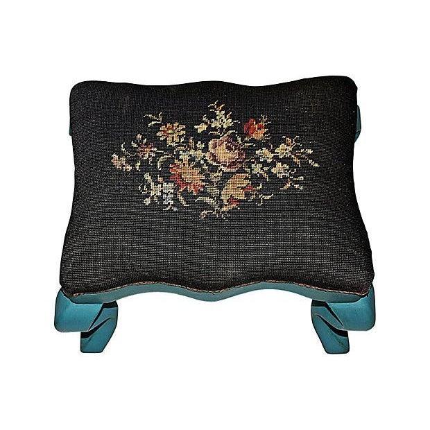 Antique Needlepoint Footstool - Image 4 of 5
