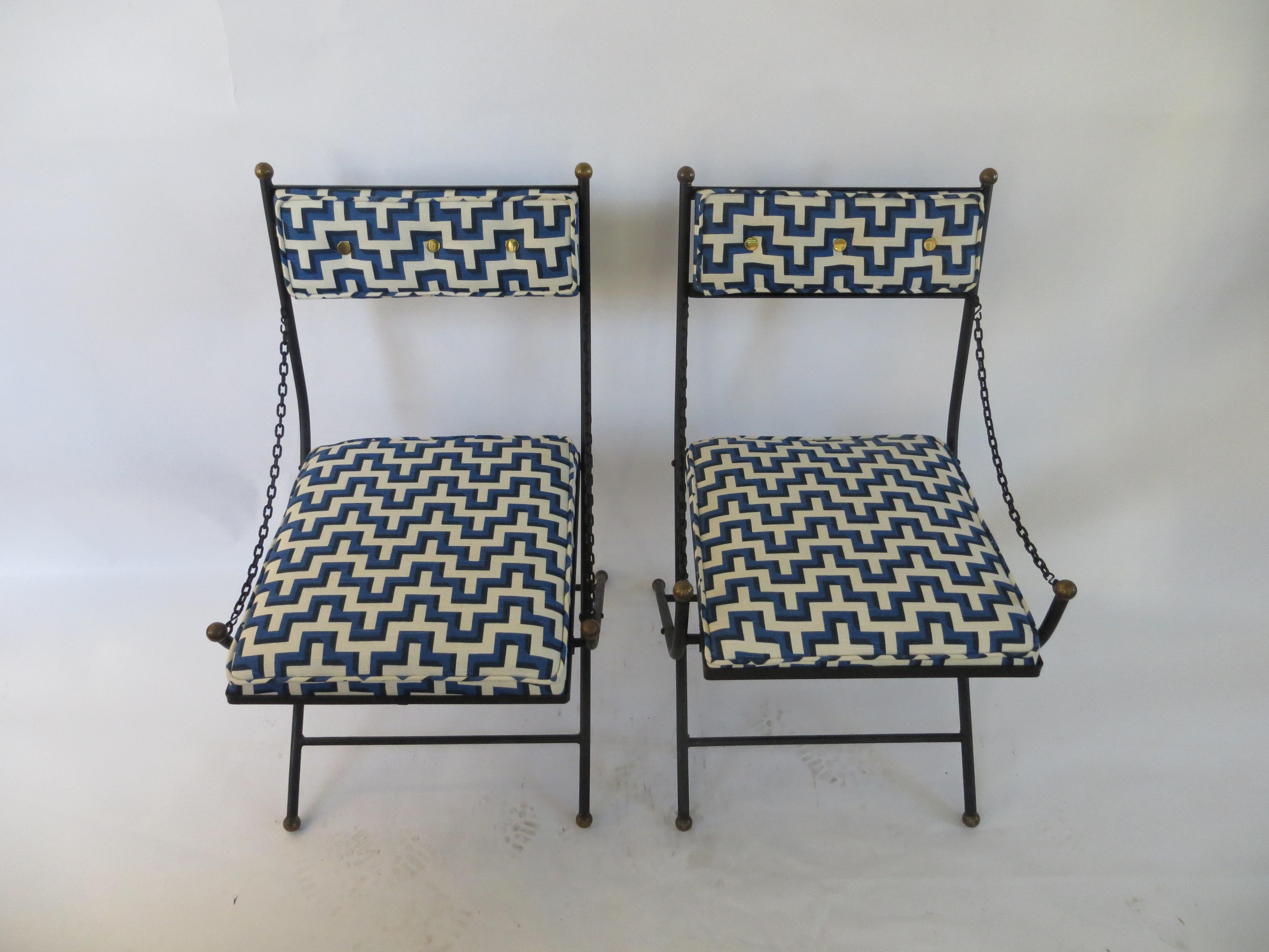 Attrayant Vintage Folding Wrought Iron Chairs   A Pair   Image 2 Of 7