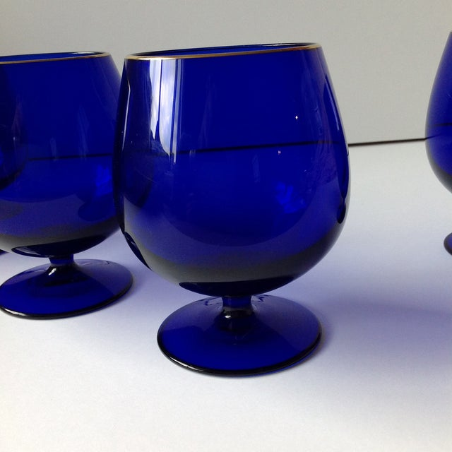 Blue Ralph Lauren Cobalt Blue Brandy Glasses - Set of 4 For Sale - Image 8 of 8