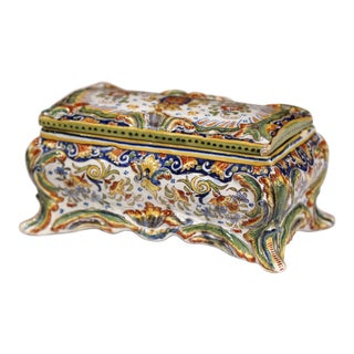 19th Century French Hand-Painted Ceramic Jewelry Bombe Box From Rouen Normandy