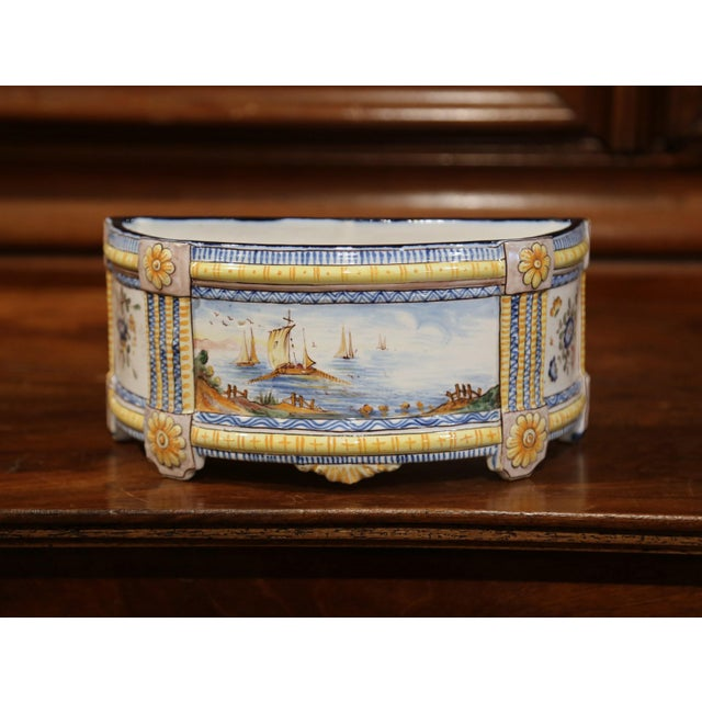 19th Century French Hand-Painted Demilune Jardinière With Sailboats and Flowers For Sale - Image 9 of 9