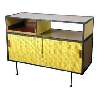 1950s Modernist Iron & Yellow Pegboard Credenza For Sale