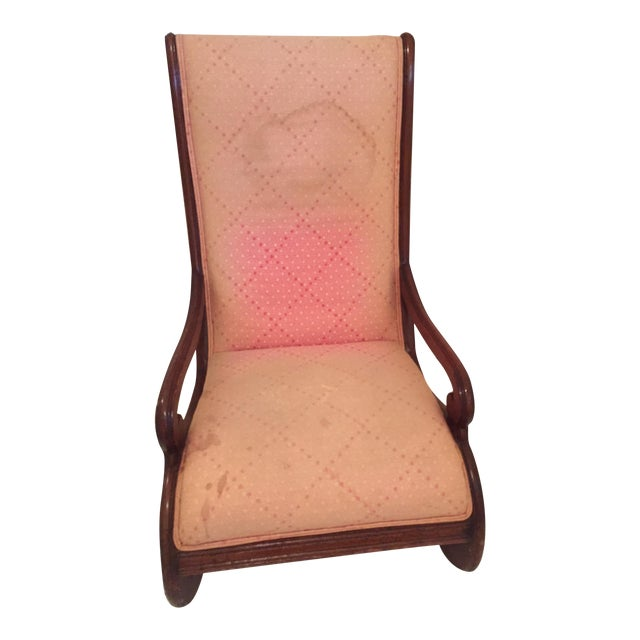 Antique Upholstered Rocking Chair - Image 1 of 4